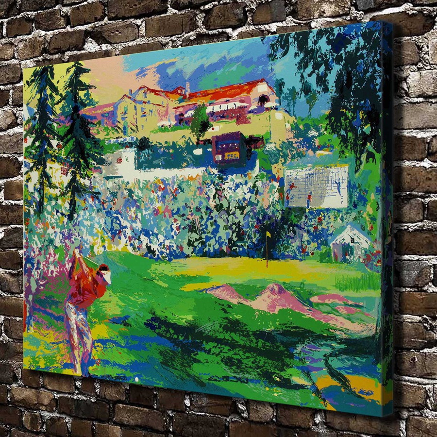 A1871 LeRoy Neiman Abstract City Playing Golf Landscape, HD Canvas Print Home decoration Living Room Wall pictures Art painting