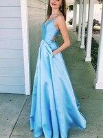 Простой сатин выпускное платье трапециевидной формы v образный вырез крест сзади светло голубые длинные платья с карманами для выпускного