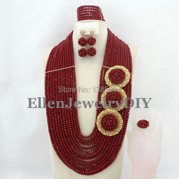 African Wedding Jewelry Set Crystal Jewelry Set African Beads Necklace Set Crystal Beads Necklace Set W7040 set peperuna set