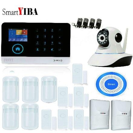 SmartYIBA Touch Screen Wireless WIFI 3G WCDMA Burglar Alarm Home Security Alarm Systems Kit Video IP Camera Smoke Fire Sensor