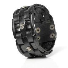2019 New Fashion Hand-woven Bandage Charm Men's Bracelets Popular Simple Mosaic Wrap Black Leather Bracelets.