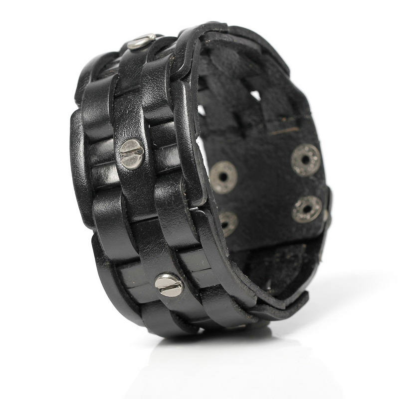 2019 Nytt Mode Handvävd Bandage Charm Herrarmband Populära Simple Mosaic Wrap Black Leather Armband.