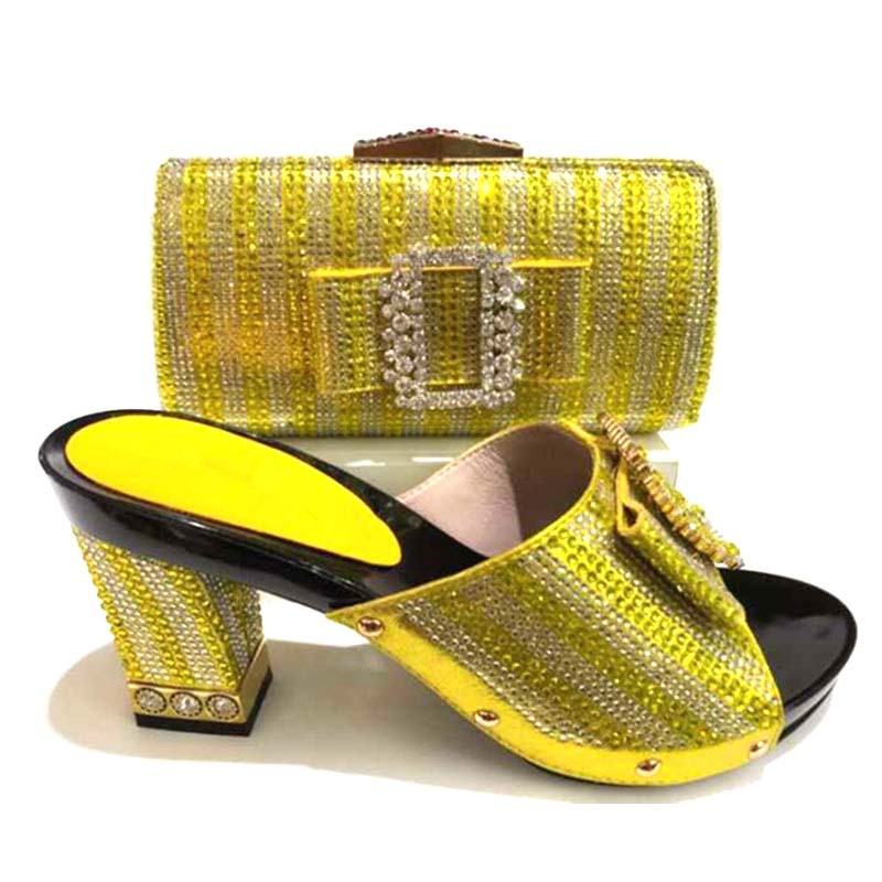 Italian Shoes With Matching Bag For Women Nigerian Shoe And Bag Set For Party African Shoe And Bag Set For Lady Yellow цена 2017
