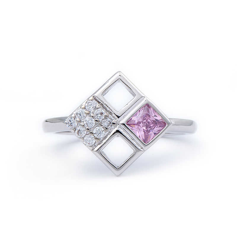 2019 Geometric Pink Crystal Rings Rose Gun Black/Silver Color Austrian Crystal Square Ring 6-10 Sizes Wholesale Hollow Rings
