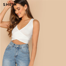 SHEIN Beige Slim Fitted Solid Wrap Knot Back Crop Tank Top Women Summer Party Minimalist Basics 2019 Sexy Vests(China)