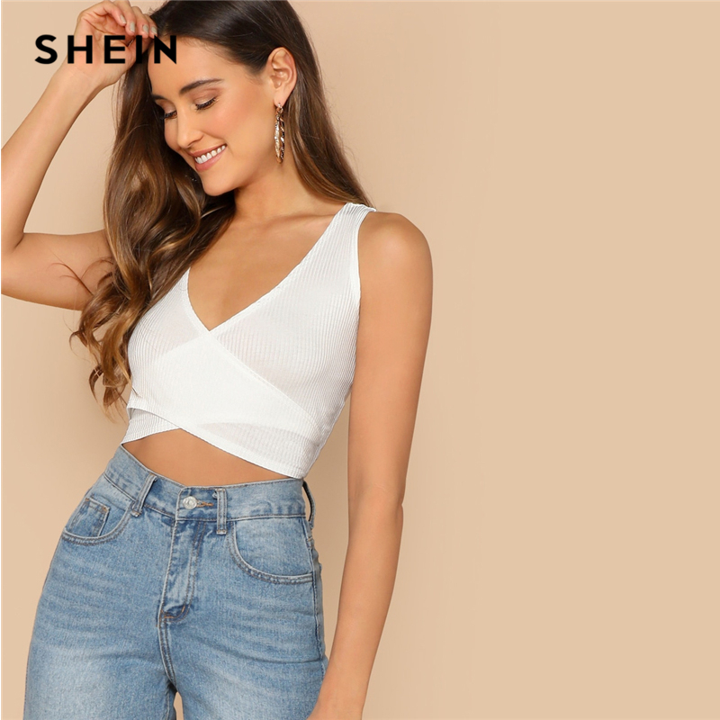 SHEIN Beige Slim Fitted Solid Wrap Knot Back Crop   Tank     Top   Women Summer Party Minimalist Basics 2019 Sexy Vests