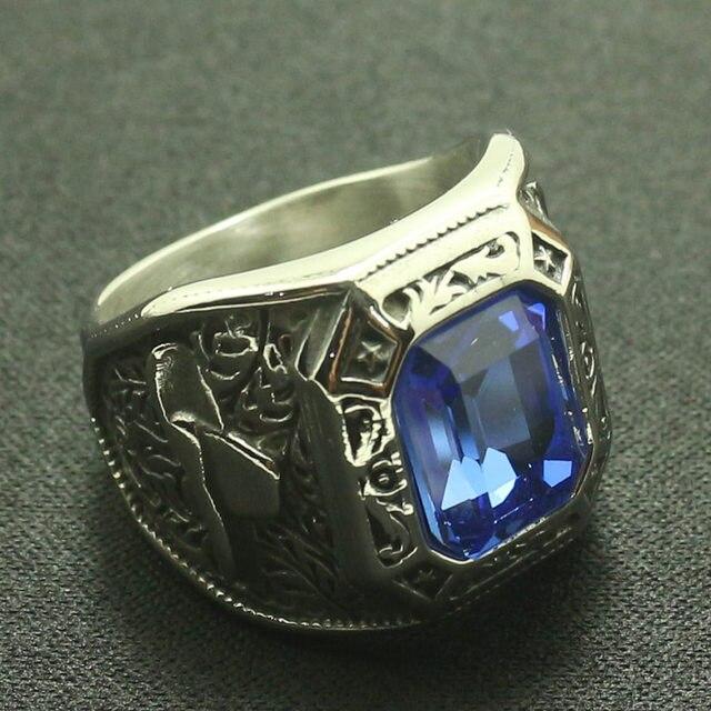 Cowboy rhinocéros corne hommes garçons 316L acier inoxydable Cool bleu pierre anneau grand cadeau pour un ami