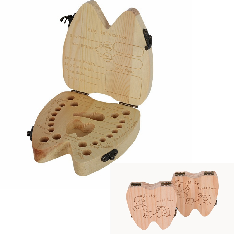 English Children Wooden Tooth Box Kid Milk Teeth Save Box Child Tooth Keep Container Teeth Holder Keepsakes For Kids Toothbox