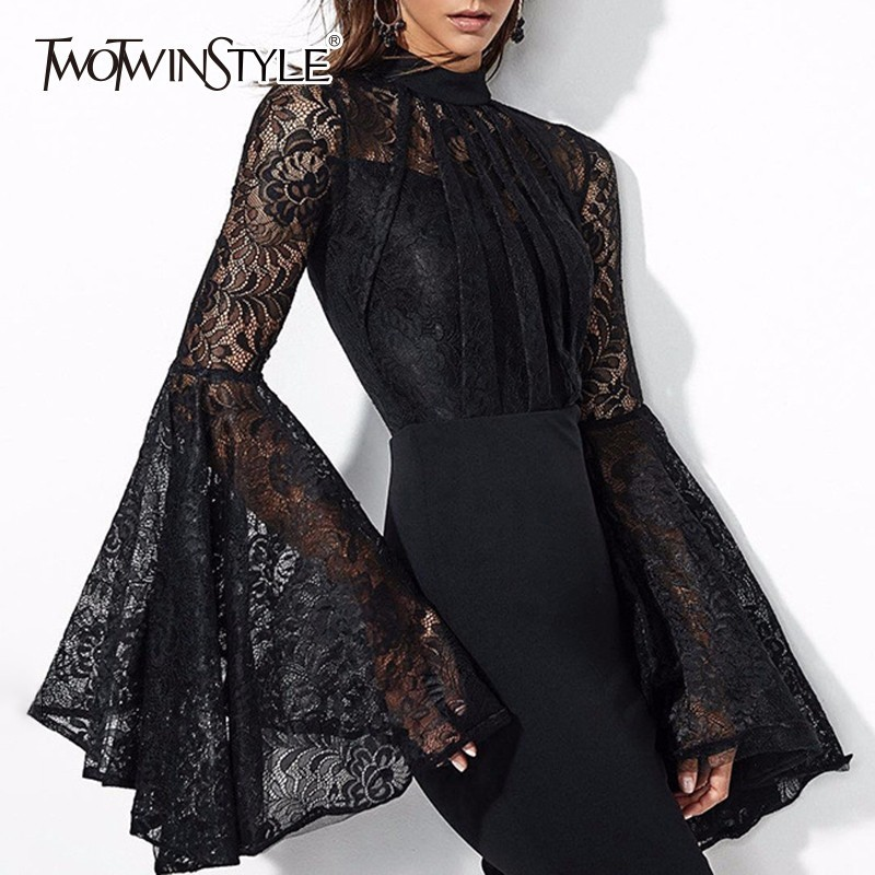 TWOTWINSTYLE Lace Bodycon Dress Ladies Hollow Out Patchwork Flare Sleeve Tunic High Waist Sexy Midi Dresses 2018 Spring Female autumn long lace dress cut out pink blue fit and flare sleeve bodycon tunic evening party midi dress european style