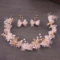 דוואר לי ורוד שנהב חתונה זר גפן פרח שיער בגימור פנינת מצנפות אביזרי נשים תכשיטי שיער כלה בארה 'ב