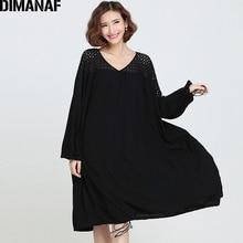 Dimanaf женское платье плюс Размеры 2018 женский элегантный Кружево Vestidos сплошной черный хлопок более Размеры D полые леди большой Костюмы Платья для женщин