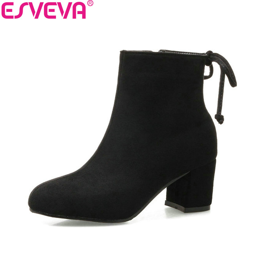 ESVEVA 2018 Women Boots Out Door  Zippers Square High Heels Ankle Boots Square Toe Chunky Short Plush Ladies Shoes Size 34-43 esveva 2018 high heels women boots short plush boots square heels elegant chunky pointed toe ankle boots ladies shoes size 34 39