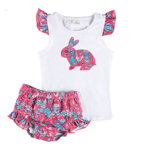 Kaiya Angel 2019 Summer Newborn Baby's Sets Girl Clothes Vest and Trousers Diaper Cover Printed Rabbit Festival Style Easter