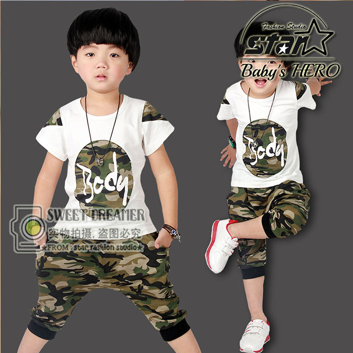 2017 Summer Boys Girls Clothing Set Short-Sleeve Camouflage Set Short Sleeves T Shirt Cotton Army Green Kids Suit For 3-15Y стоимость