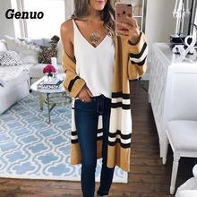 Women Autumn Color Block Cardigan Casual Striped Patchwork Sweater Elegant Long Sleeve Loose Knitted Tops Streetwear Outwear casual striped color block dress