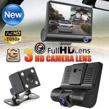 """4 """"Full HD 1080 P 170 широкий взгляд градусов 3 линзы Видеорегистраторы для автомобилей регистраторы встроенный g-сенсор Регистраторы + обнаружения движения заднего вида Камера"""