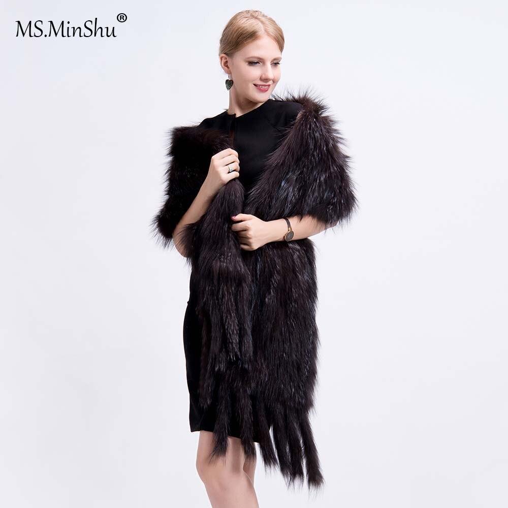 Ms. MinShu luxe renard fourrure châle réel renard fourrure Wrap hiver automne tricot à la main naturel renard fourrure écharpe avec franges réel fourrure étole