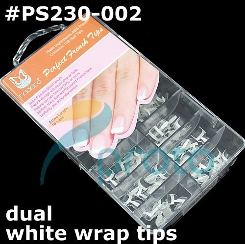 Freeshipping-128pcs Dual French Wrap Tips White Short Double Wrap Tips  Wholesales SKU:A0176