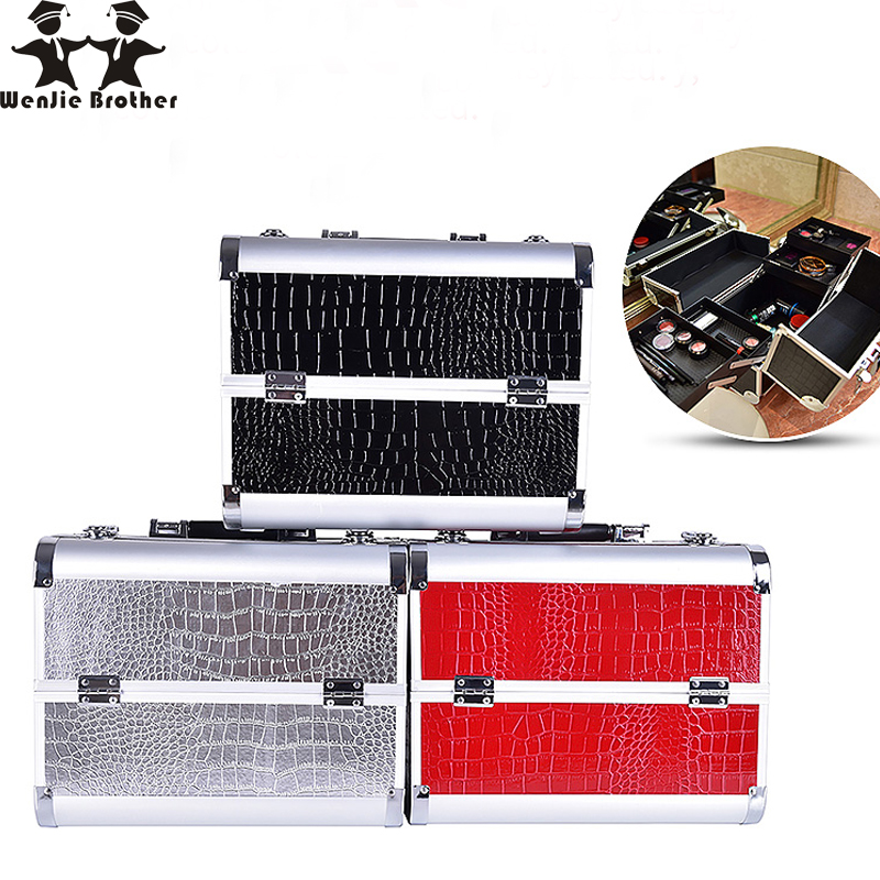 wenjie brother professional Aluminium PUMakeup BoxMakeup Case Beauty Case Cosmetic Bag Multi Tiers Lockable Jewelry Box for gift