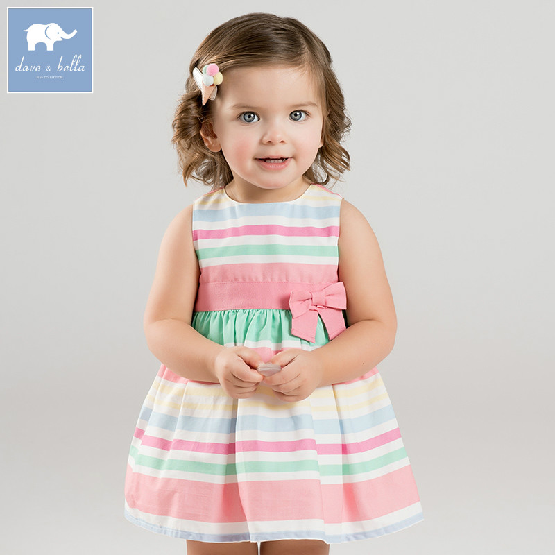 Dave bella baby girls color striped Party Wedding dress children sleeveless dresses summer toddler infant clothes DBA6540 hurave 2018 baby girls clothes children sleeveless crew neck mesh tutu dresses causal striped cotton infant lace shirts dress