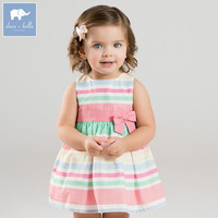 Dave bella baby girls color striped Party Wedding dress children sleeveless dresses summer toddler infant clothes DBA6540