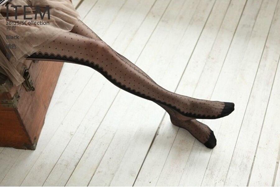 Sexy Women Thin Dot Tights White Black Long Stockings Japanese Lolita Pantyhose