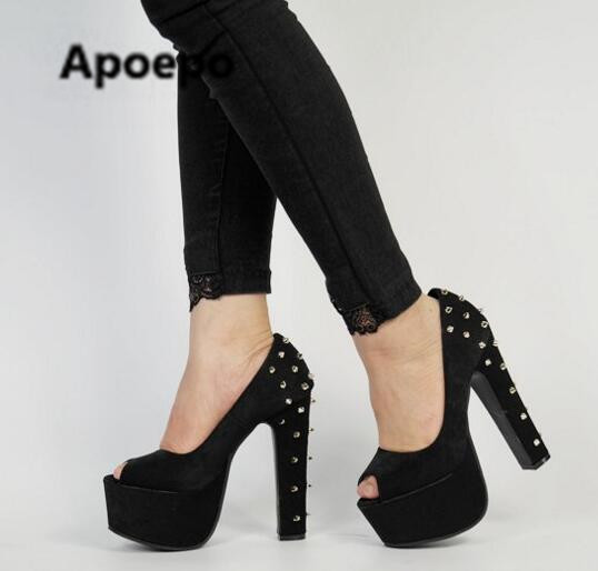 Sales stiletto women pumps peep toe 15 cm high heels pumps women punk style rivet platform woman shoes chaussure femme talon цена