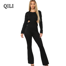 QILI Hollow Out Backless Women Elegant Beading Jumpsuits Autumn Winter Long Sleeve Boot Cut Pants Jumpsuit Fashion Casual Wear
