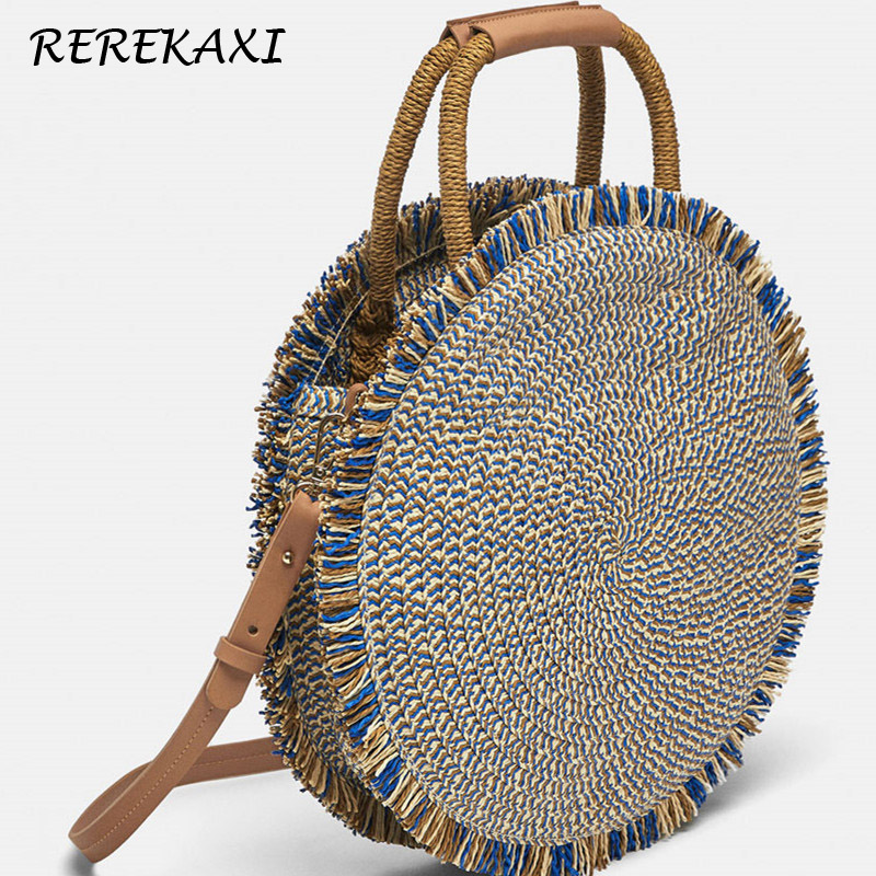 REREKAXI Fashion Women Handbag Round Handmade Shoulder Bag Weave Summer Beach Bags Bohemian Straw Bag Female Messenger Bags Tote