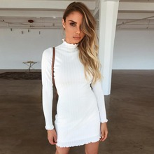 Fashion women winter Sweater dress 2018 new arrival solid wild long sleeve turtleneck Pit lace cotton sheath hip casual dress