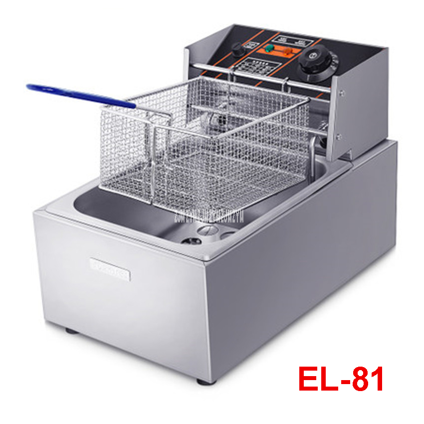 Commercial frying pan EL-81 single-cylinder fryer electric fryer french fries machine 2.6L Large Capacity with Fried mesh 220V 2 6l air fryer without large capacity electric frying pan frying pan machine fries chicken wings intelligent deep electric fryer