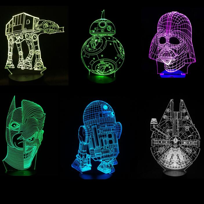 Star Wars 3D Illusion LED Night Light BB8 Walker Darth Vader R2D2 Millennium Falcon Batman Joker Face X Wing Fighter Master Yoda mini qute kawaii wise hawk star war darth vader x wing starfighter r2d2 yoda building blocks brick model figures educational toy