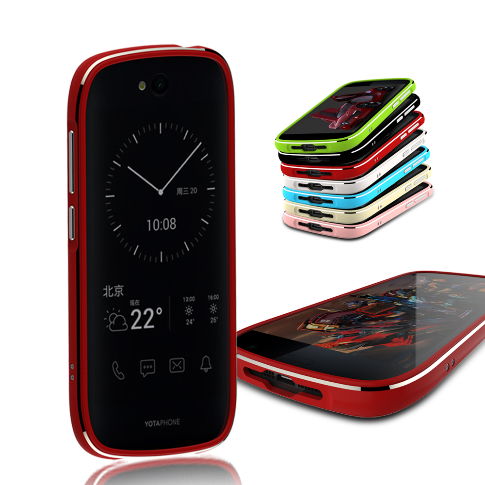 imágenes para Luphie Caja Del Teléfono Móvil para Yotaphone 2 Yota 2 Antidetonante de Parachoques de Aluminio + 2 protector de Pantalla