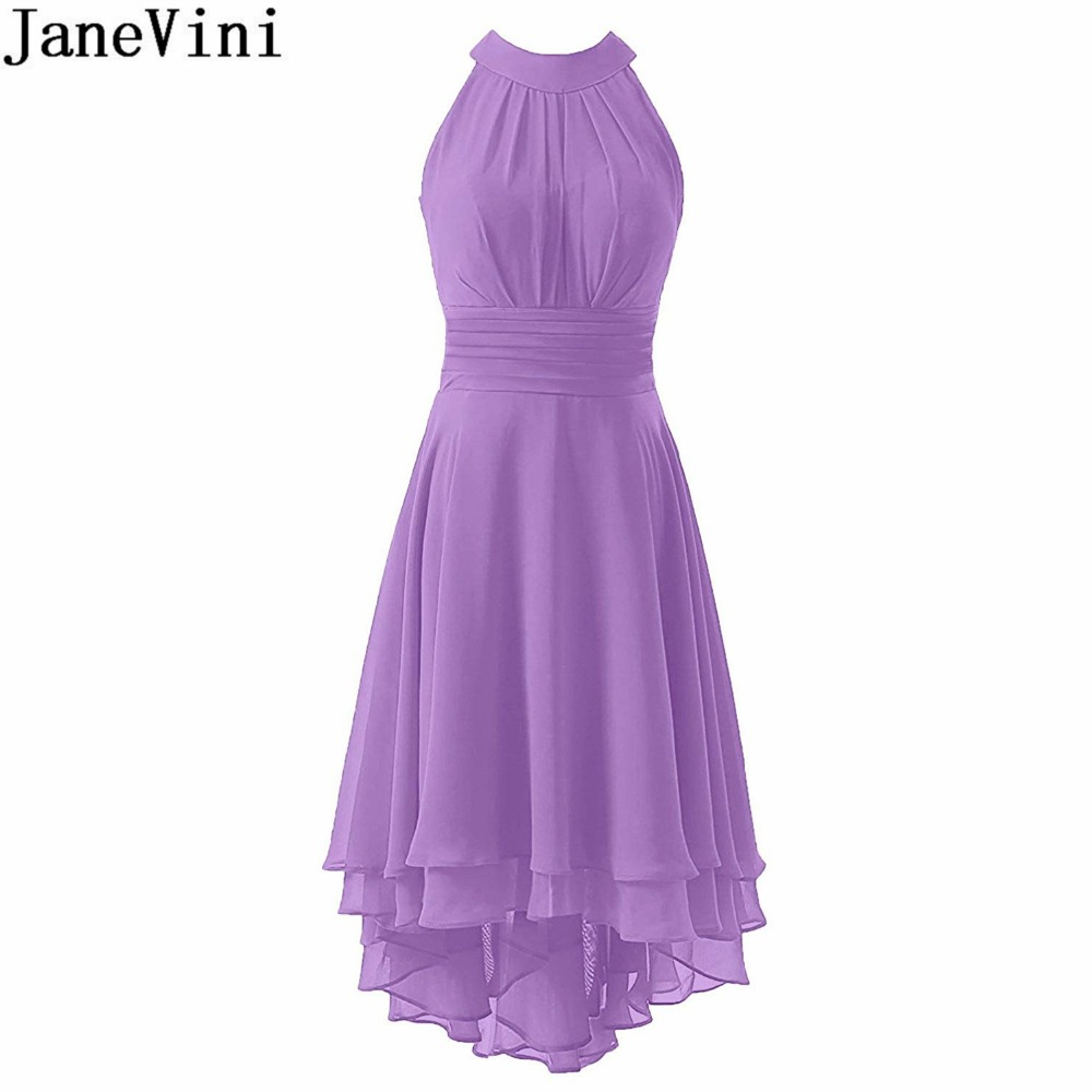 JaneVini 2018 Hot Chiffon Lilac Dress Wedding Party Prom High Low Green Bridesmaid Dresses Tea-Length Women Maid Of Honor Gowns