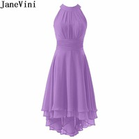 JaneVini 2018 Hot Chiffon Lilac Dress Wedding Party Prom High Low Green Bridesmaid Dresses Tea Length Women Maid Of Honor Gowns