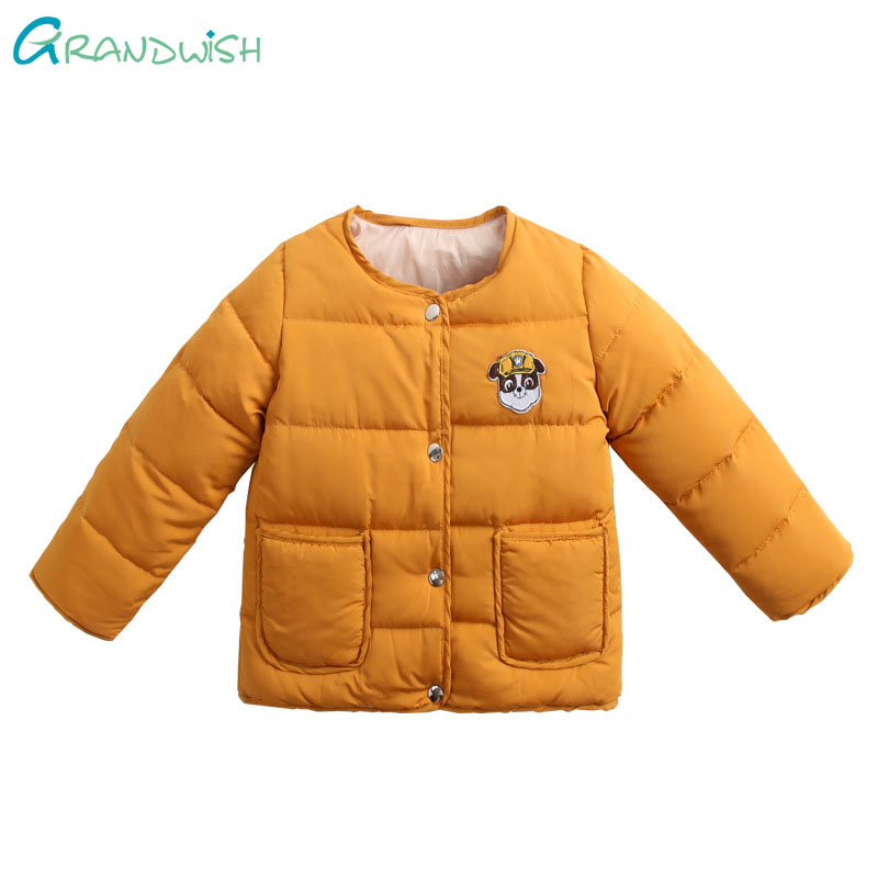 Grandwish Children's Thick Warm Jacket Boy's Cartoon Logo Winter Cotton Suit Girl Solid Button Jacket 3T-10T, JC217