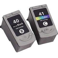 Canon pg40 cl41 inks recarregável, 2 peças PG-40 CL-41 100% qualidade garantia para pixma mp140 mp150 mp170 mp180 mp220 mp460 impressora