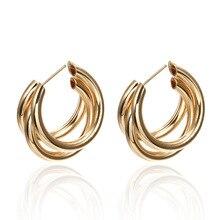 купить Easy Matching C-shaped Multilayer  Big Earrings  Designs Gold Geometric Metallic Drop Earrings по цене 71.94 рублей