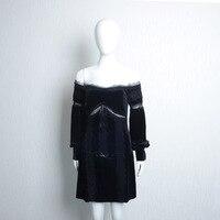 Lady Clothes Women Dress Girl Velvet Grenadine Stitching Slash Collar Elastic Waist Sexy Black Dress