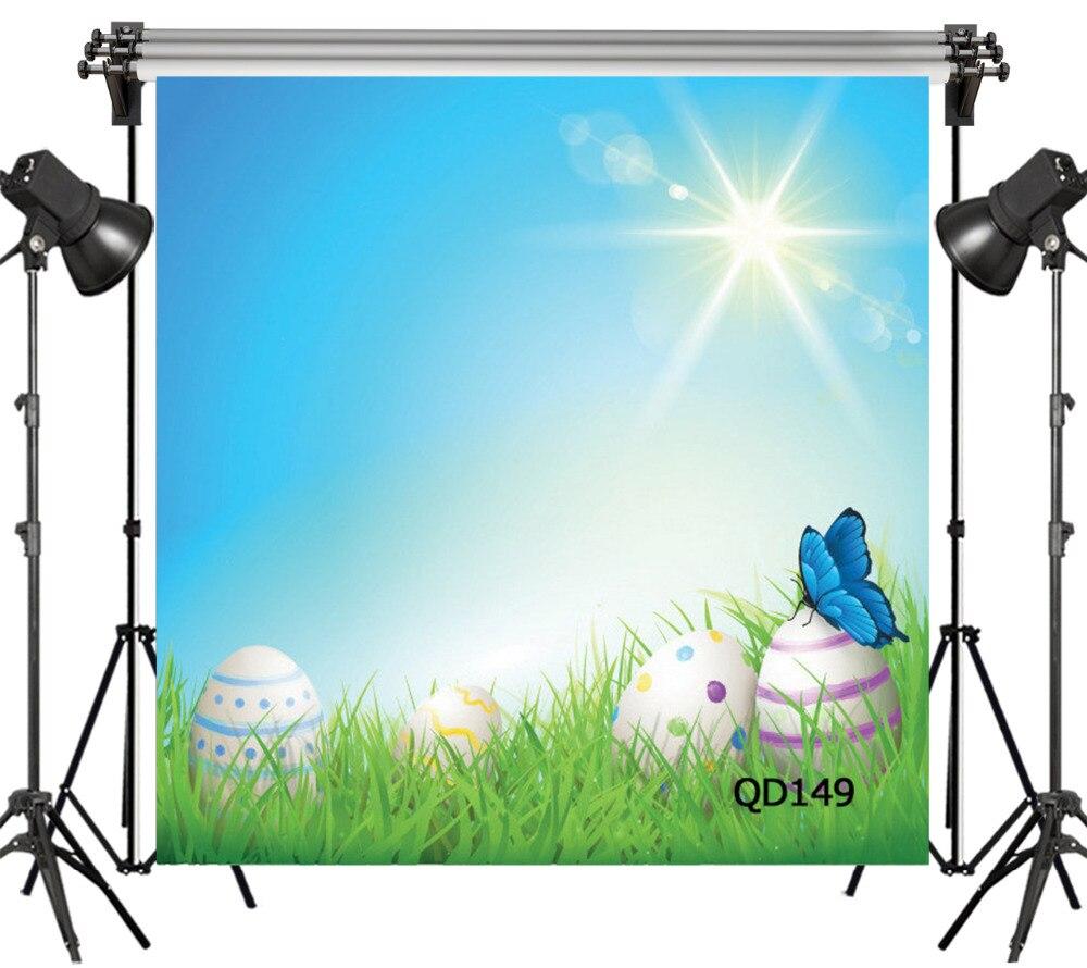 Lb Vinyl Latar Belakang Kartun Telur Rumput Hijau Langit