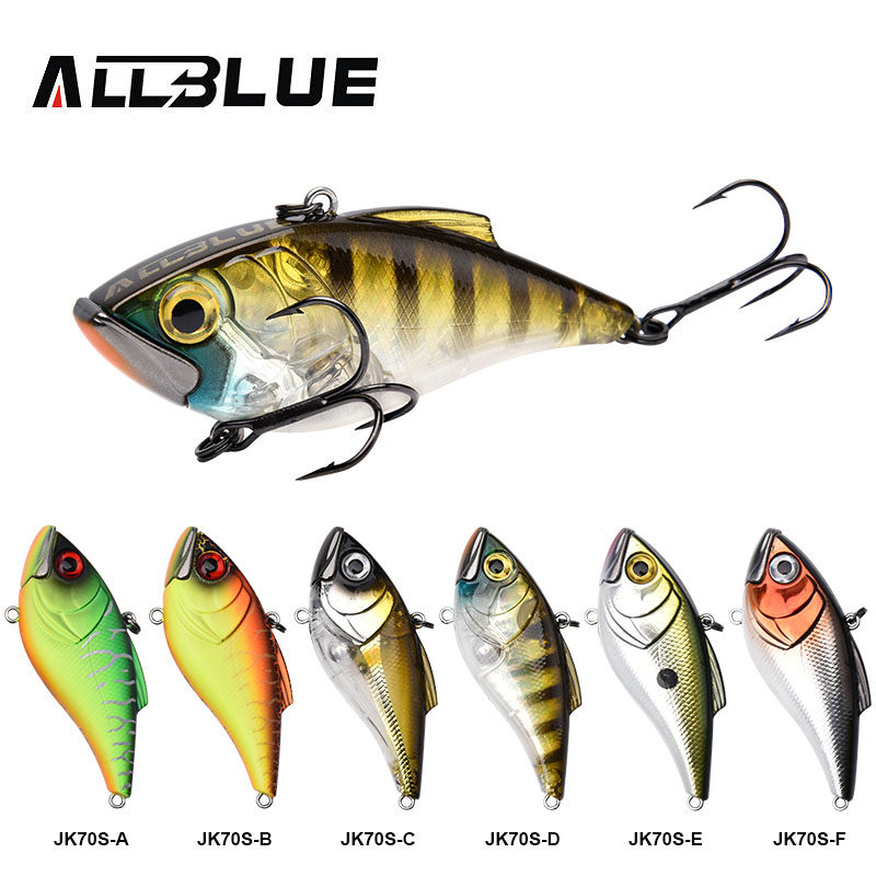 ALLBLUE NEW MODELS 70MM 17G VIB Fishing Lure Hard Bait 6 Colors Highly Responsive Lipless Crankbait ICE Fishing Tackle allblue slugger 65sp professional 3d shad fishing lure 65mm 6 5g suspend wobbler minnow 0 5 1 2m bass pike bait fishing tackle