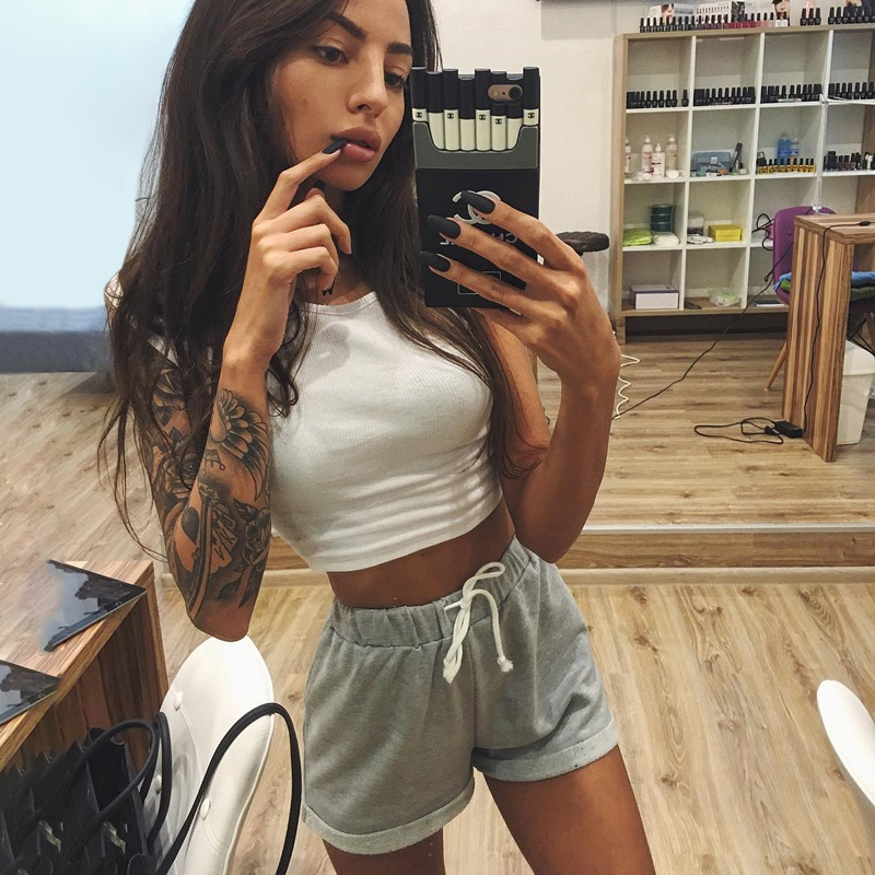 Womens lounge tie waist gym workout shorts solid color athletic jogger yoga pants