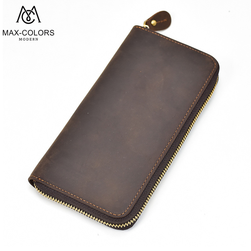 Crazy Horse Genuine Leather Men Wallets Credit Business Card Holders Vintage Zipper Cowhide Leather Wallet Purse Carteira crazy horse leather men wallet slim vintage genuine leather long purse cowhide bifold wallets with coin pocket and card holders