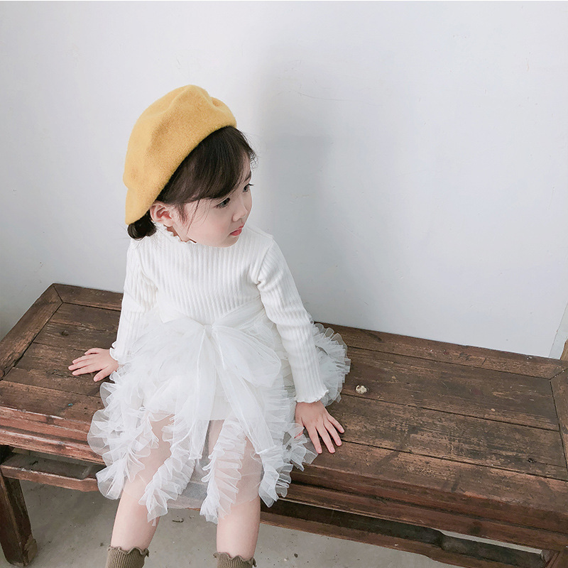 2019 Cotton Long Sleeve Knitted Kids Dresses For Girls Toddler Clothing Baby Girl Drees Tulle Patchwork Grey Pink White Spring 18
