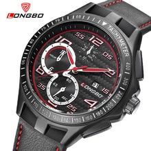 LONGBO Lujo Hombres de Cuero Genuino Reloj de Cuarzo de Los Deportes Relojes Para Hombres Hombres Ocio Reloj Reloj Militar Del Relogio masculino 80200