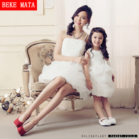Mother Daughter Matching Dress 2017 Spring Fashion Sleeveless Mom Daughter Gowns Sweetie Girl Princess Tutu Dress Family Clothes