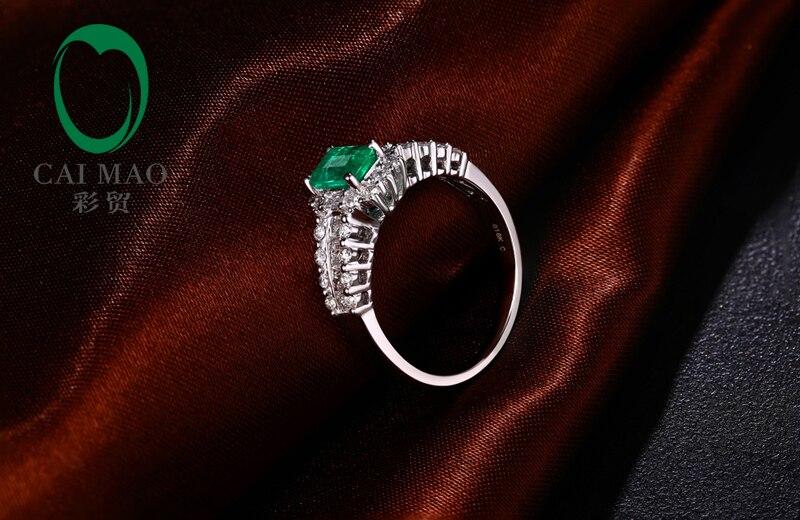 Новое поступление 14 К белого золота 0.68ct 4x6 мм Изумруд Pave Обручение кольцо Бесплатная доставка