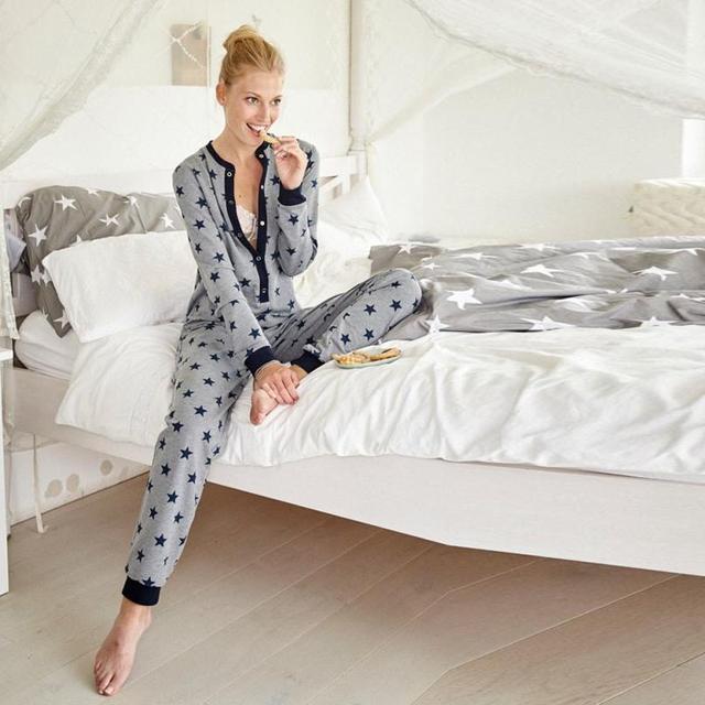 2018 New Home nightgown ladies long sleeved star print jumpsuit pajamas  home pajamas Unicorn kigurumi for adults pajamas e5da94def
