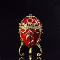 QIFU New Arrival Unique Handicraft Red Faberge Style Egg for Trinket Box