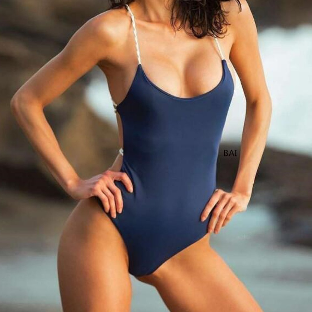 2018 Sexy One Piece Swimsuit Women Swimwear Female Solid Dark Blue Thong Backless Monokini Bathing Suit XL Bandage Bodysuit in Body Suits from Sports Entertainment